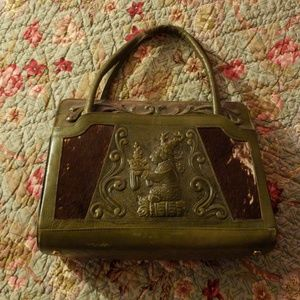 tooled leather Aztec handbag made in mexico